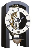 Table Clock Hermle mechanical 8-day movement Skeleton Mantel black Made Germany