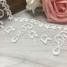 Vintage Music Note Cotton Mesh Lace Edge Trim Ribbon Applique Sewing Craft White