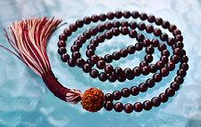 Garnet & Rudraksh Handmade Mala Beads Necklace - Energized Karma Nirvana mala
