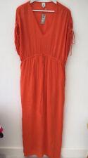 River Island Sz 18 Orange Maxi Beach Dress Kaftan NEW