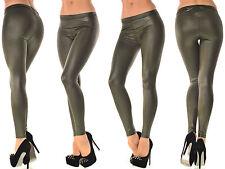Sexy Glanz Leggings Leggin Leder Optik Hose khaki Leggins 36 38 S M