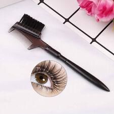 Women double-sides brow comb eyebrow brush wood holder make-up tool black  VvV