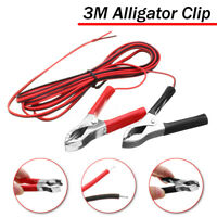 3M Alligator Clip Wiring Cable Crocodile Clamp For Solar Panel Battery Charger !