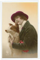 1920s Pretty Young Lady BEAUTY AND THE BEAST !!! w/ her Dog photo postcard
