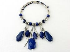 Vintage Costume Jewelry, Statement Necklace, Cobalt Stones, Choker Necklace