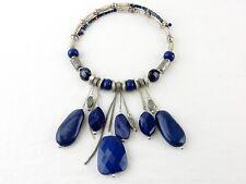 Vintage Costume Jewelry, Statement Necklace, Cobalt Stones, Choker Necklace