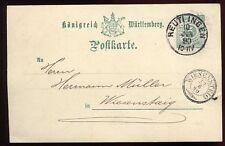 ENTIER POSTALE WURTTEMBERG REUTI INGEN  1890