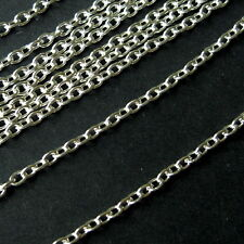5 METRES SILVER PLATED CABLE CHAIN FINDING 3.5 x 2.5mm - LEAD & NICKEL FREE