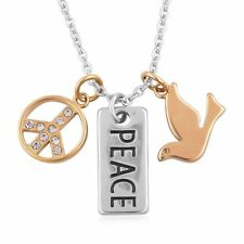 "AUSTRIAN CRYSTAL PEACE SIGN SCRIPT DOVE STAINLESS STEEL 20"" NECKLACE 3 PENDANTS"