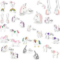 Girls Ladies 925 Sterling Silver UNICORN Stud Earrings Crystal Christmas Ear Bxd