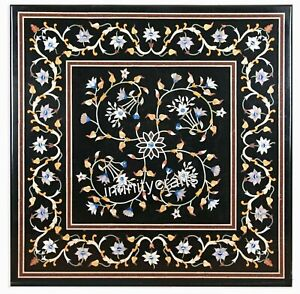 Beautiful Inlay Art Marble Coffee Table Top Antique Black Sofa Table 21 Inches