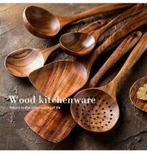 Tableware Kitchen Spoon Set Natural Wooden Kitchenware Cooking Utensil Tool Kit