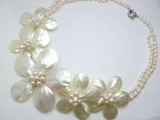 Hawaiian Jewelry Fresh Water White Mother Pearl Shell Flower Necklace # 20654-2
