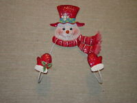 Home Interiors Vintage Holiday Christmas, Patches Snowman Wreath Hanger