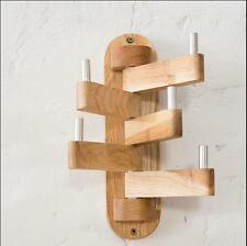 Oak Wood Rotatable Coat Rack Hanger Stand Clothes Hook Modern Wall Mounted
