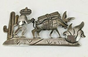 """Early Vintage Mexico Sterling Silver Donkey Cactus Desert Storyteller Brooch 3"""""""