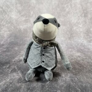 "Jellycat Riverside Rambler Badger Soft Plush Toy Kids Comforter Grey & White 9"""