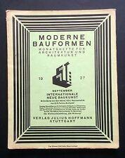 MODERNE BAUFORMEN Sept 1927 Die Wohnung Weissenhof Dessau BAUHAUS FLW Mies Oud