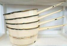 Vintage Retro Cream Gold Enamel Large saucepan with pouring lip 50s 60s