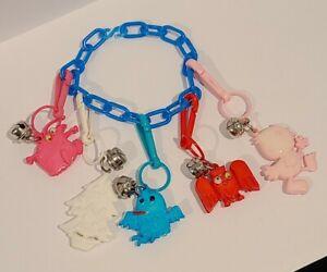 RETRO 1980's Plastic Bell Clip On Bracelet Vintage 80's Necklace Charm
