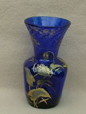 Antico CONTINENTAL Bohemien MOSER francese Cobalto vaso di cristallo Art Nouveau gilded