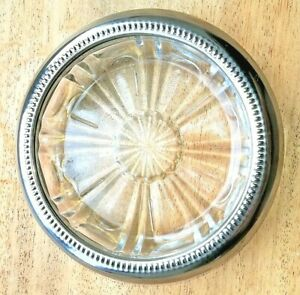 Vintage  Retro Cut Glass Nut Bowl / Trinket Dish with Silver Plate Rim x 8