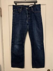 Gustin Men's Jeans Straight Cone Mills Selvage 12.5 oz Raw #11 35x28 WORN
