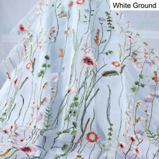 Grass Flower Tulle Embroidery Lace Fabric Floral Curtain Gard Wedding BY YARD