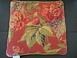 Vintage Croscill SERENA Decorative Throw Pillow Red Floral Checks Gold Cording