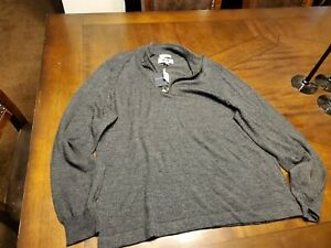 JOSEPH ABBOUD Merino Wool Blend  1/4 Zip Gray Pullover Sweater XL