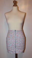 Women's H&M size UK/8 EU/36 florardenim zipper up high waist mini skirt