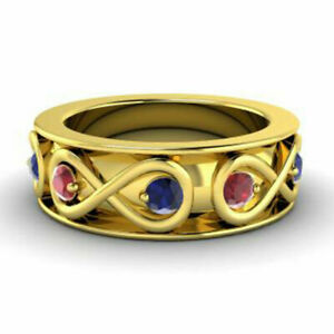 0.80 Ct Natural Sapphire Ruby Wedding Rings 14K Solid Yellow Gold Size M N O P Q