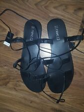 Next Real Black Leather Gladiator Style Sandals – Size 8
