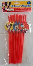 Party Straws DISNEY MICKEY MINNIE MOUSE DONALD DUCK Birthday Supplies 18 Pack S1