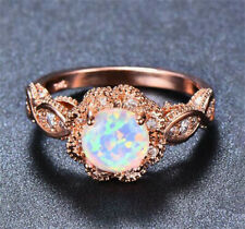 NEW Fashion Rose Gold White Fire Opal CZ Crystal Wedding Ring Jewelry Size 10