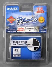 """Brother P-touch TZ-141 Genuine Black Ink on 3/4"""" Clear Tape Indoor Outdoor NIP"""