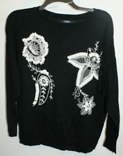 Chaps by Ralph Lauren Woman Sz. 2x Black With Cream Embroidery Sweater