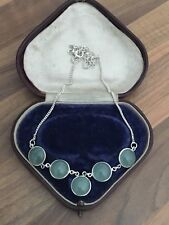 """Beautiful 17"""" Marked Sterling Silver & Aqua Stone Necklace 12.6gr"""