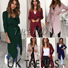 UK Women Ladies Waterfall Cardigan Tie Belt Trench Long Coat Duster Jacket Open
