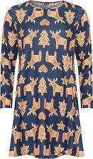 Womens Plus Reindeer Xmas Print Dress Ladies Long Sleeve Swing Flared Top 14-28 Blue 14
