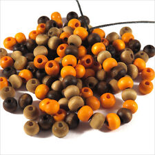 Lot Mixte 300 Perles rondes en bois 6mm Marron Orange