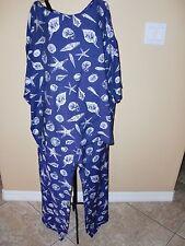 """NWOT""""TOMMY BAHAMA""""Starfish/Shells Design Blouse size M/M Pants size 12 Suit Set"""