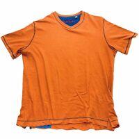 Robert Graham Mens Classic Fit Orange T-Shirt Size Large V Neck Soft Modal Blend