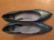 WOMENS BERTIE MID BLUE & GOLD PRINT SKIN LEATHER SHOES SIZE 8uk