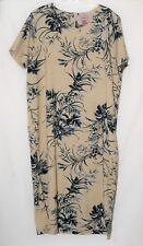 Premier International Ladies Plus Dress 22 W Short Sleeves Beige Linen A-Line
