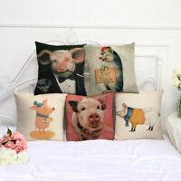"18"" Pig Printed Cotton Linen Throw Pillow Case Sofa Square Waist Cushion Cover"