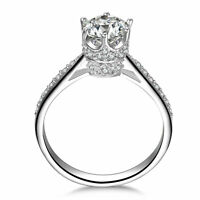 QUEEN 925 STERLING SILVER CZ ENGAGMENT RING WEDDING BAND WOMEN'S SIZE 3-12 SA041