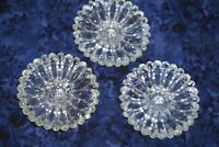 SET OF 3 VINTAGE HAZEL ATLAS DAISY FLOWER CLEAR GLASS CANDLE HOLDER / SHE SHED P