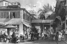 China, CANTON GUANGZHOU STREET LIFE SHOPS ~ Old Antique 1843 Art Print Engraving