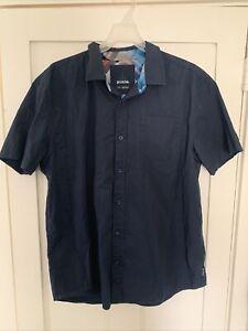 Prana Mens Short Sleeve Button Down Shirt Blue  Size L 100% Organic Cotton